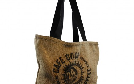 cafe coco tote bag made from upcycled coffee bags