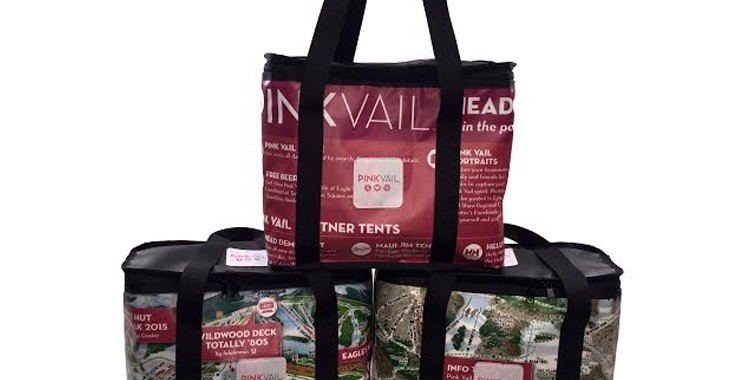 vail valley medical center cooler made from upcycled banner material