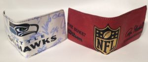 Wallets made from Seattle Game Footballs